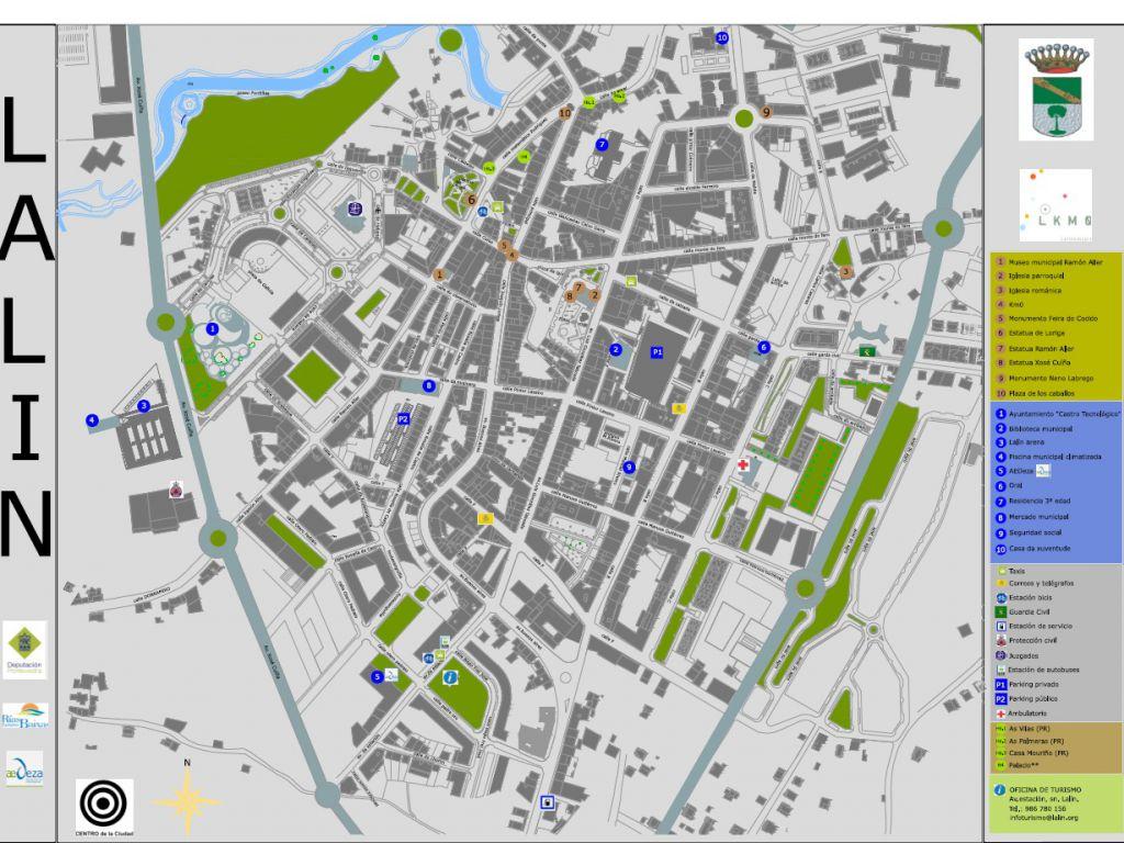 Callejero Mapa De Santiago De Compostela.Lalin Mapa Callejero Descargas Web Oficial De Turismo