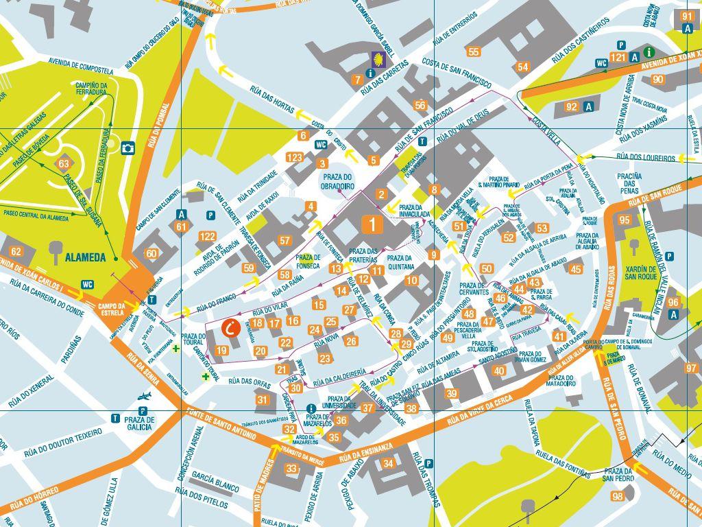 Callejero Mapa De Santiago De Compostela.Plano De Santiago De Compostela Publicaciones Web