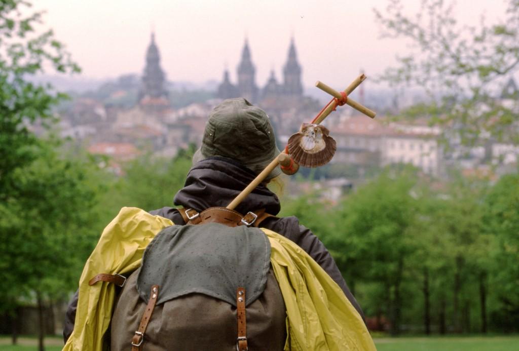 Peregrino llegando a Santiago