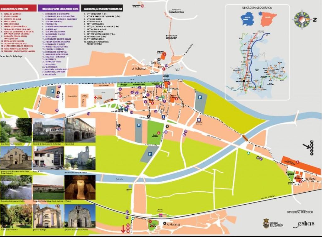 Callejero Mapa De Santiago De Compostela.Padron Plano Turistico Descargas Web Oficial De Turismo
