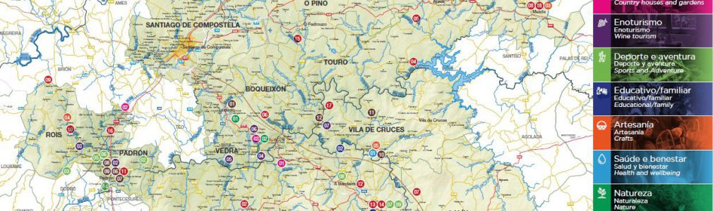 Map: Tourist services and activities very close to Santiago (2016)