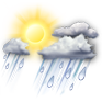 Scattered thunderstorms?>